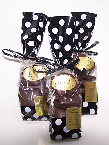 Dark Chocolate Toffee - Three hand filled 5 ounce bags of handmade delicious toffee, generously coated with Gilbert's Dark Chocolate -