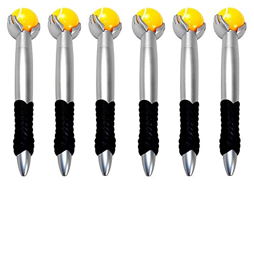 Spinning Tennis Ball Novelty Pen - Comfort Grip, Ball Point, Fidget Toy - Set of 6. ()