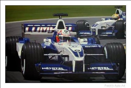 Juan Pablo Montoya 2001 BMW Williams Print Autographed By Montoya