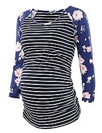 Liu & Qu Women's Maternity Tops Short Raglan 3/4 Sleeve Shirts Baseball Crew Neck Side Ruched Clothes