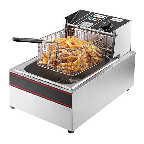 Flexzion Deep Fryer 1700W 6 Liter Stainless Steel Electric Fryer w/Fry Basket for Commercial Restaurant, Countertop, Kitchen w/Adjustable Temperature, Built-in Timer, CE Certified