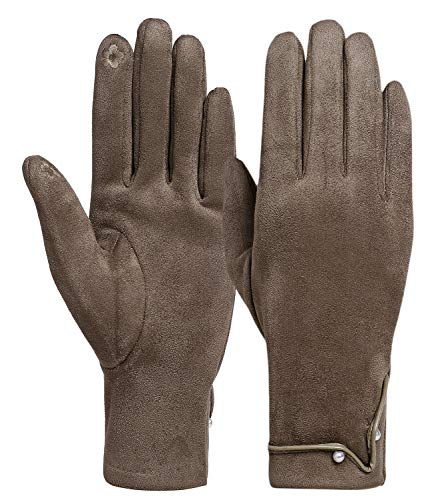 Women Warm Winter Gloves With Faux Pearl Fleece Lined Thick Touchscreen Gloves ()
