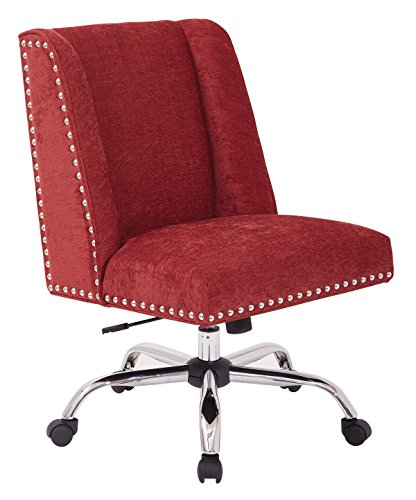 INSPIRED by Bassett Alyson Chrome Base Adjustable Managers Chair with Nailhead Accents, Berry (By Inspired Bassett Chair Accent)