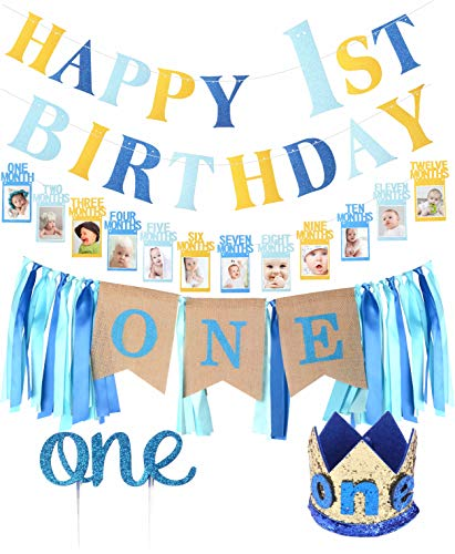 FIRST BIRTHDAY DECORATION SET FOR BOY- 1st Baby Boy Birthday Party, Blue Hat Crown, High Chair Banner - | Happy Birthday ONE Burlap Banner | 1st Birthday Baby Photo Banner for Newborn to 12 Months, Monthly Milestone Photograph Bunting Garland, First Birthday Celebration Decoration| Cake Smash Party Supplies (1st Year Birthday Party Ideas For A Boy)