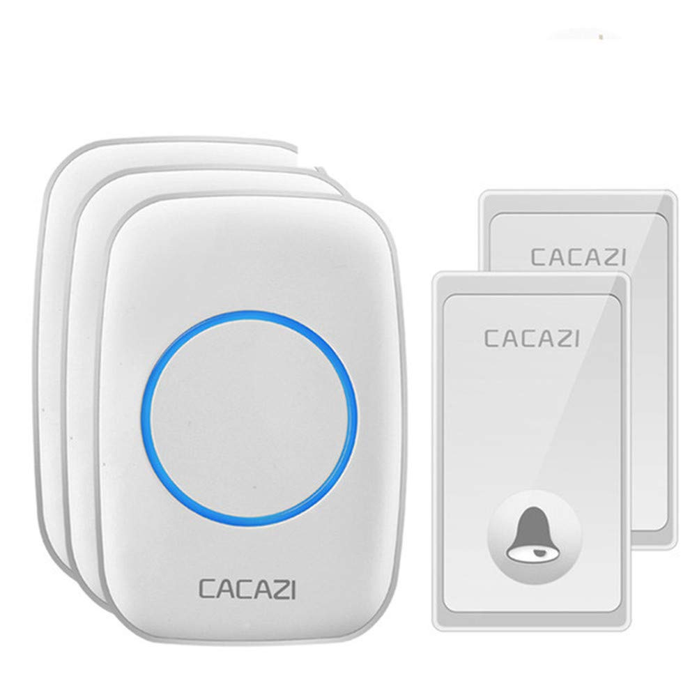 MHCYKJ No Battery Required Wireless Doorbell Smart 58 Chimes 2 Button 3 Receiver US EU UK Plug Home Cordless Door Bell,White