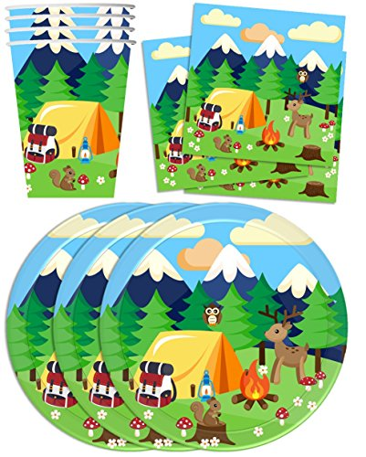 Camping-Adventure-Birthday-Party-Supplies-Set-Plates-Napkins-Cups-Tableware-Kit-for-16-by-Birthday-Galore