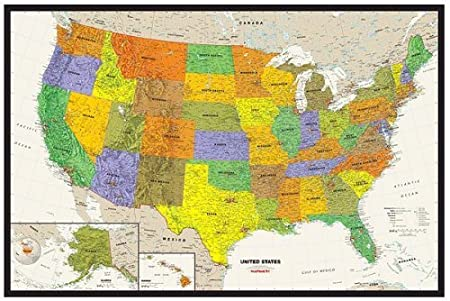 Amazoncom Contemporary US Tyvek Paper Map Wall Maps Office - Us paper map