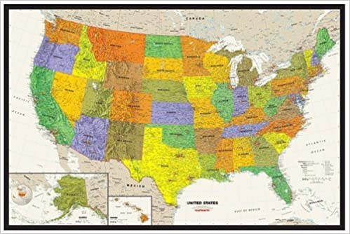 View Map Of United States.Contemporary Us Tyvek Paper Map
