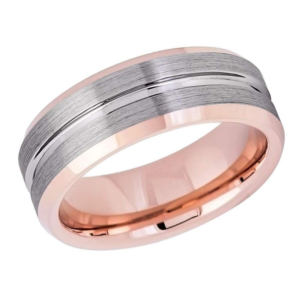 TosowebOnline Mens 8mm Beveled Edge High Polished Rose Gold Ion Plated Wedding Band with Grooved Over Flat Brushed Finish Center Comfort Fit Tungsten Carbide Anniversary Ring