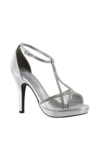 3002b79777a David s Bridal Harlow Shimmer Peep-Toe Heels with Rhinestones Style 4203