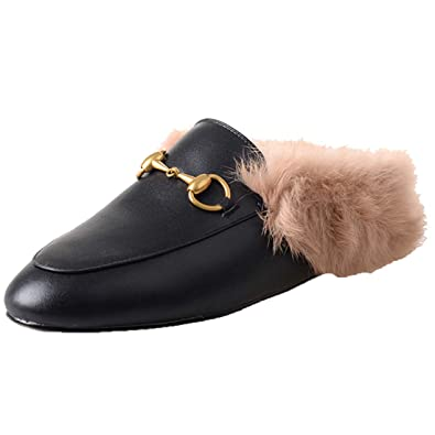 58364e4c7 Agodor Womens Flats Suede Leather Slingback Mules Faux Fur Slip on Outdoor  Dress Slippers Warm Classic