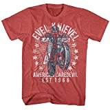 Evel Knievel - Mens Seventy Five! T-Shirt, Size: X-Large, Color: Red Heather