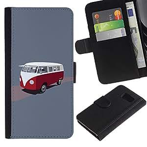 KLONGSHOP / Tirón de la caja Cartera de cuero con ranuras para tarjetas - Bus Retro Vintage Minivan Red White Drawing - Samsung Galaxy S6 SM-G920