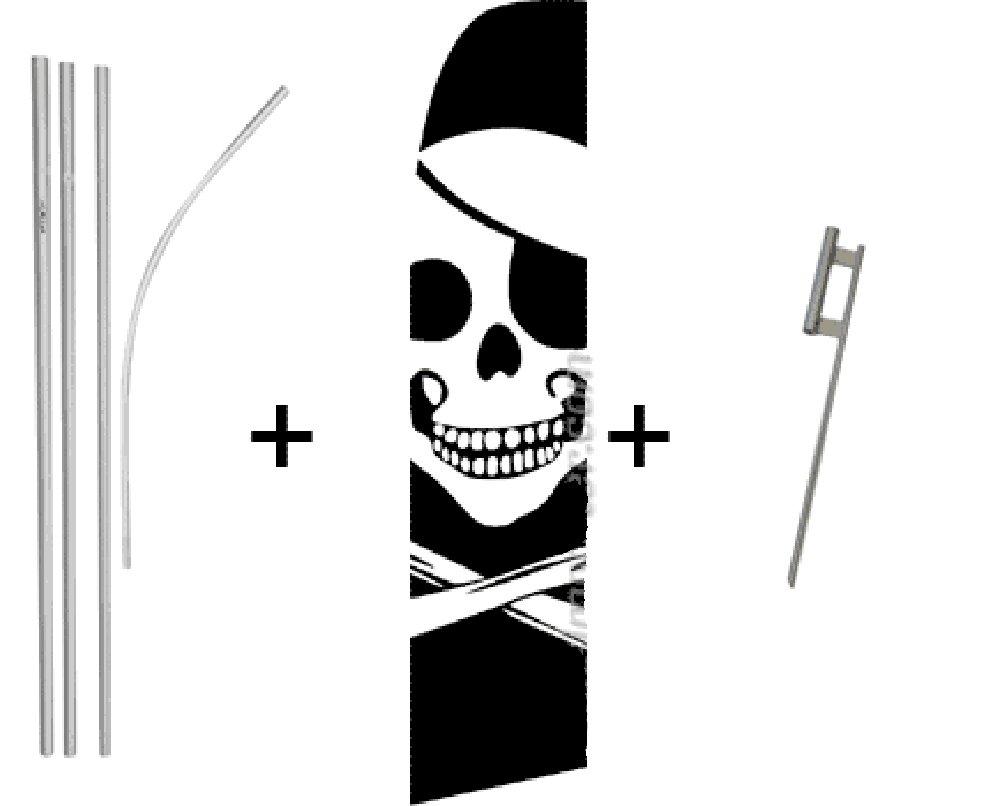 Pirate Quantity 2 Super Flag & Pole Kits