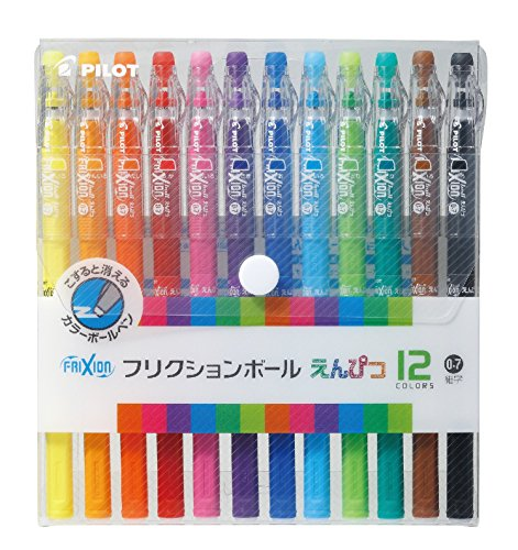Pilot FriXion Pencil, 0.7mm Ballpoint Pen, 12 Colors Set (12 Color Pen Set)