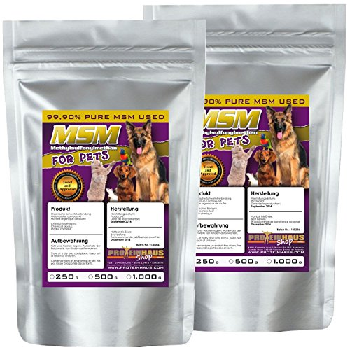 Proteinhaus MSM 500g 99,9% PURES Methylsulfonylmethan für Tiere Hunde Pferde Katzen