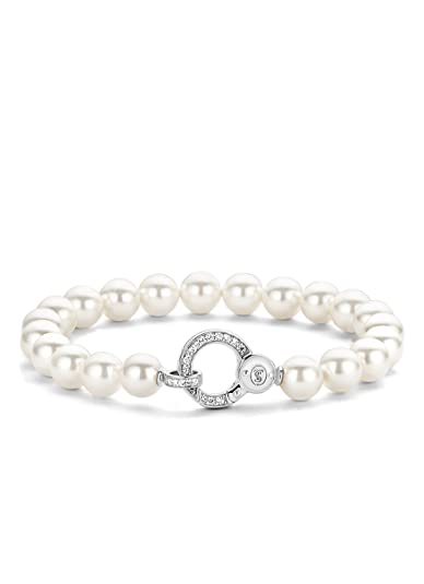 Ti Sento Milano Shell Pearls and Rhodium Plated Sterling Silver Bracelet-2670PW tpzSHK2U