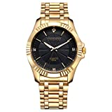 Fq-005 Golden Color Plating Stainless Steel with Crystals Mens Business Wrist Watches for Man Black
