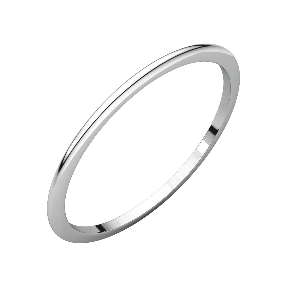 Jewels By Lux 10K White Gold 1mm Half Round Bridal Wedding Ring Band