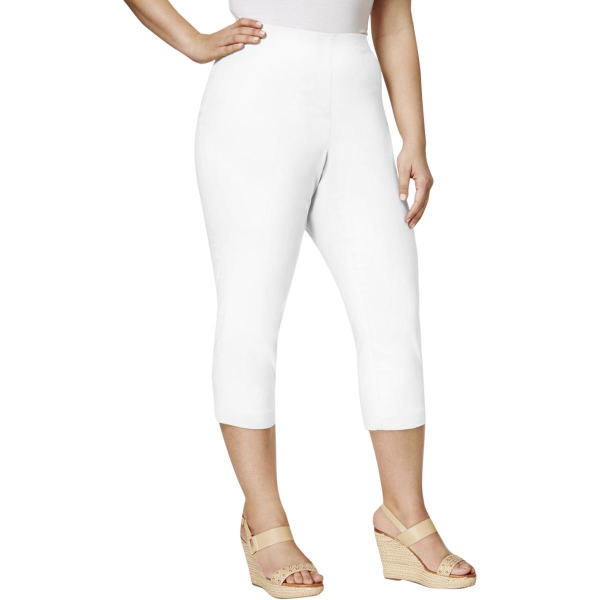 Style & Co. Womens Plus Comfort Waist Jegging Capri Jeans White 24W