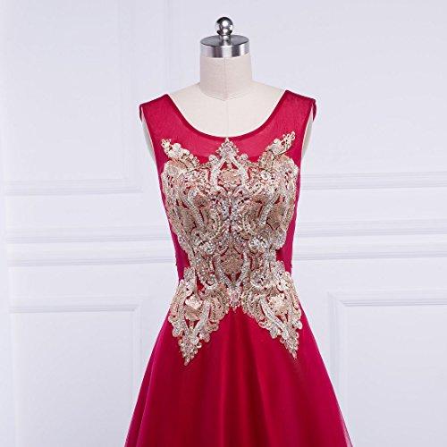 Beauté-emily Robes De Soirée Longues Robes De Perles De Broderie De Tulle Scoop Rose Des Femmes Ont Augmenté