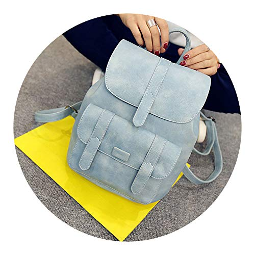 Women Solid Vintage School Bags for Girls Black PU Leather Women Backpack,Blue,China,W23H29D13 CM