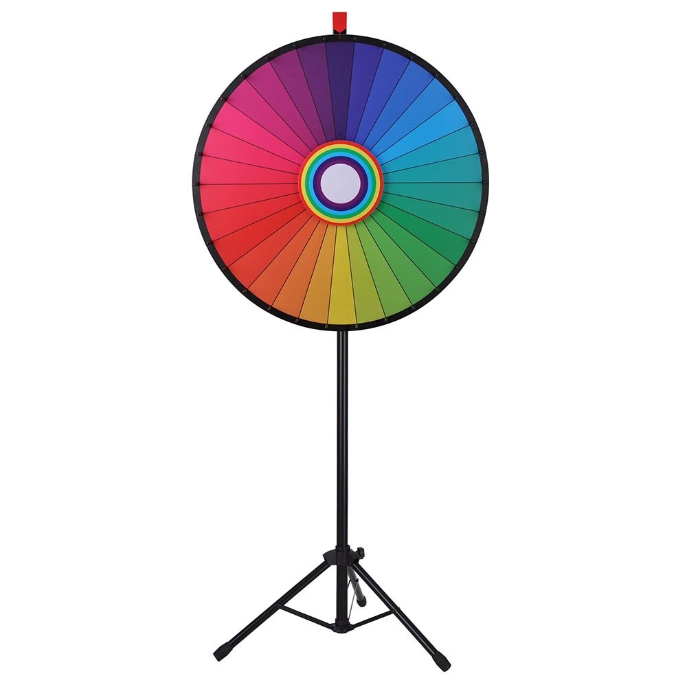WinSpin 30'' Editable Rainbow Prize Wheel 30 Slot Floor Stand Tripod Spinning Game Tradeshow Carnival by WinSpin