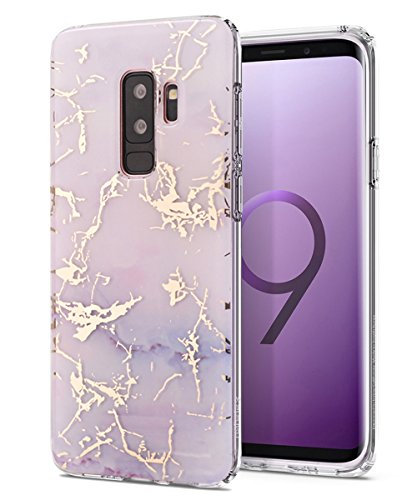 Galaxy S9+ Plus Case,Spevert Marble Pattern Hard Back Soft TPU Raised Edge Ultra-Thin Shock Absorption Hybrid Protective Case Slim Cover Compatible Samsung Galaxy S9+ Plus(2018 Released) - Purple