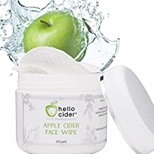 Apple Cider Vinegar Face Toner Pads - Natural & Organic Witch Hazel,Tea Tree,Rose Geranium, Lavender. Balance pH, Clear Pores, Cleanser. Best for Acne Prone & Sensitive Skin 60ct.Hello Cider