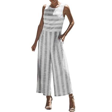 e9ddc6b344b Sinfu Pants Trousers for Women Sleeveless Striped Jumpsuit Casual Clubwear  Wide Leg Pants Outfit (XL