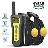 AngelaKerry Dog Training Collar, 1000ft Remote Dog Shock Collar, 100% Waterproof and Rechargeable with Beep/Vibra / Electric Shock (Yellow, 2 Collars) For Sale