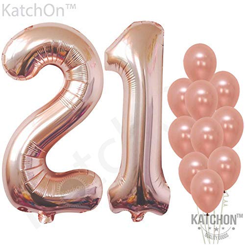Rose Gold 21 Birthday Balloons, Large, Pack of 12 | 21st Birthday Balloons Party Decorations Supplies | Number 2 and 1 Rose Gold Balloons | Foil Mylar and Latex Balloons -