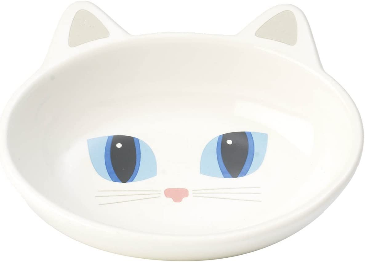 PetRageous 10012 Oval Frisky Kitty Stoneware Cat Bowl 5.5-Inch Wide and 1.5-Inch Tall Saucer with 5.3-Ounce Capacity and Dishwasher and Microwave Safe is Great for Cats, White