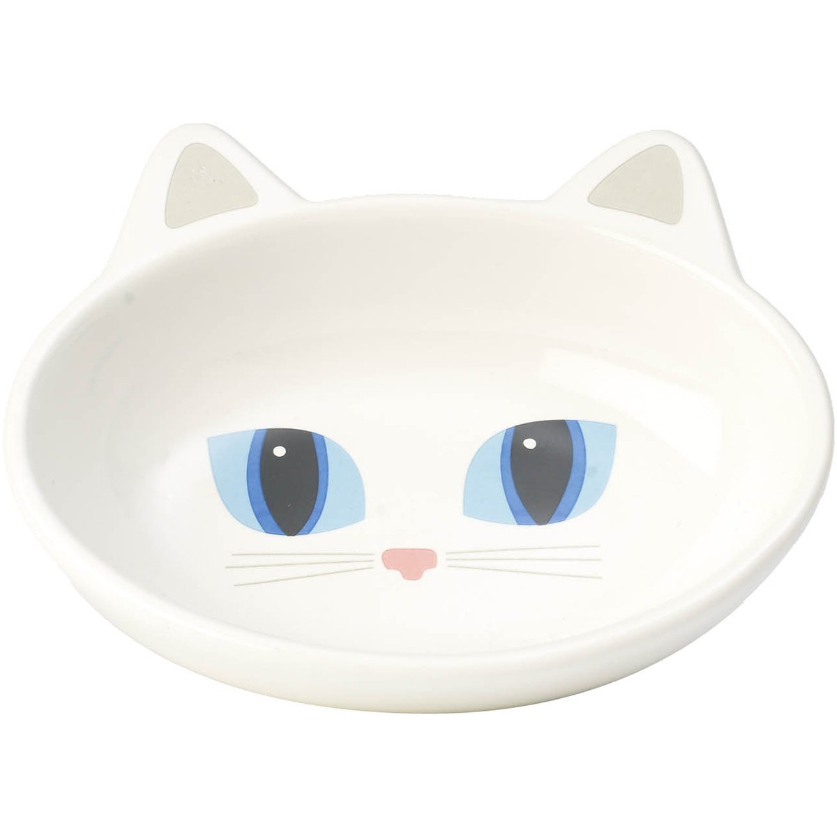 PetRageous Oval Frisky Kitty Pet Bowl, 5.5-Inch, White
