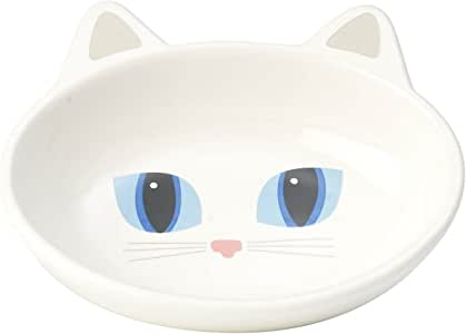 "Frisky Kitty Cat Bowl, 5.5"" Oval White, White"