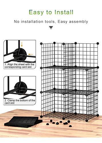 GuanJun Wire Cube Storage,6-Cube Storage Organizer, Metal Stackable Storage Bins (Black, 6-Cube) (Black, 6 Cube)
