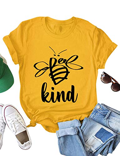 ZXZY Women Short Sleeve Tee Cute Bee Graphic Kind Letter Print Tshirt Top Blouse Yellow