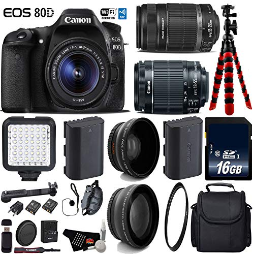 Canon EOS 80D DSLR Camera with 18-55mm is STM Lens & 55-250mm is II Lens + LED + UV FLD CPL Filter Kit + Wide Angle & Telephoto Lens + Camera Case + Tripod + Card Reader - International Version -  6Ave