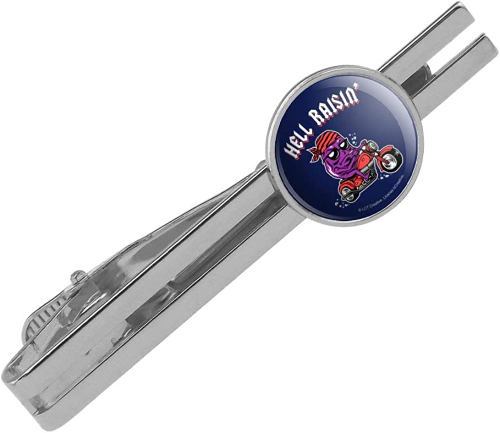 GRAPHICS /& MORE Hell Raisin Raising Biker Funny Humor Round Tie Bar Clip Clasp Tack Silver Color Plated