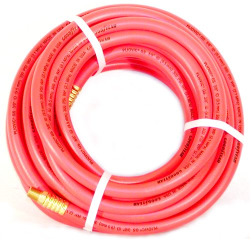 """Air Hose Continental (Formerly Goodyear) ORANGE Pliovic 300psi 3/8"""" x 100' with brass (Goodyear 100ft Air Hose)"""