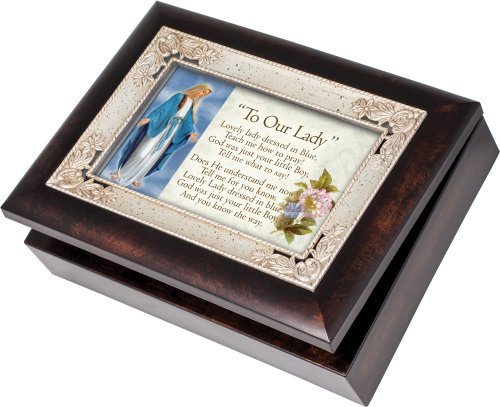 Cottage Garden Our Lady Dressed in Blue Italian Style Jewelry Music Box Plays Tune Ave Maria