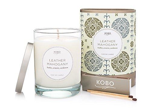 Kobo Candles Kobo Soy Candle, Leather Mahogany