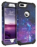 BENTOBEN Case for iPhone 8 Plus/iPhone 7 Plus, 3 in 1 Hybrid Hard PC Soft Rubber Heavy Duty Rugged Bumper Shockproof Anti Slip Full-Body Protective Phone Cover for iPhone 8 Plus/7 Plus 5.5inch, Space