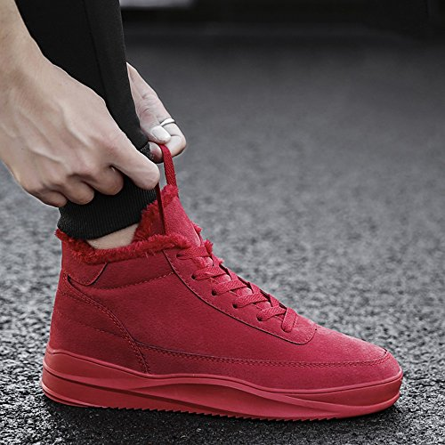 Men's CN39 Color 3 High Shoes Help Plate Sports Keep and High Feifei UK6 Warm Leisure Quality Slip Materials Non Colors EU39 Winter Shoes Red Size qSqHwrf
