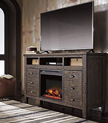 Trordell Dark Brown TV Stand with Fireplace Insert