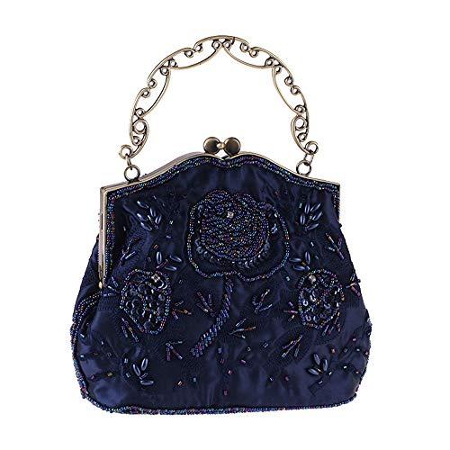 À Sac Bleu Soirée Bourse Perlée De Couleur Vintage Mariage Ofgcfbvxd Femmes Or Sac Bridal Broderie Clutch Main qBARx8H
