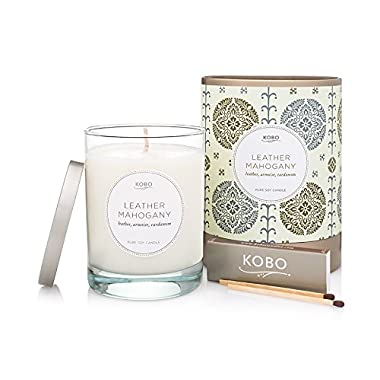 Kobo Candles Kobo Soy Candle, Leather Mahogany