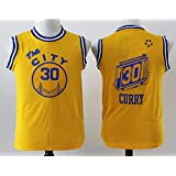 Youth Golden State Warriors Stephen Curry #30 Basketball Jersey Yellow L