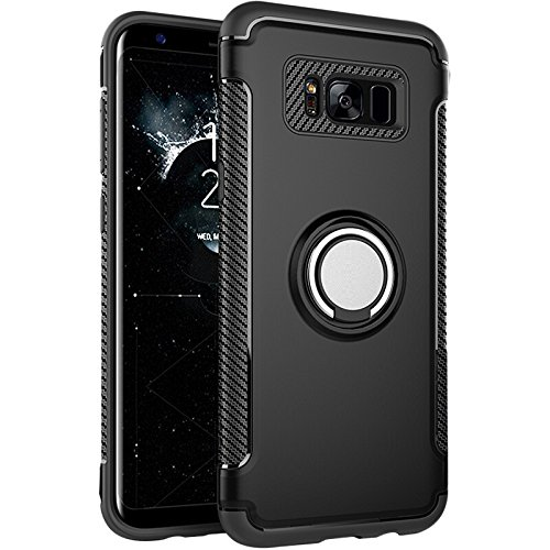 S8 Case,Galaxy S8 Case, BESTARLEDS Hybrid Ring Holder Kickstand 360 Degree Rotating Ring Grip Cover Shock-Absorption & Anti-Scratch Bumper Protective Case for Samsung Galaxy S8 (5.8 inch)Black