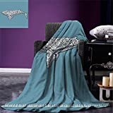 smallbeefly Nautical Digital Printing Blanket Ethnic Whale Fish with Totem Symbol and Kitsch Antique Paisley Pattern Summer Quilt Comforter Slate Blue and White